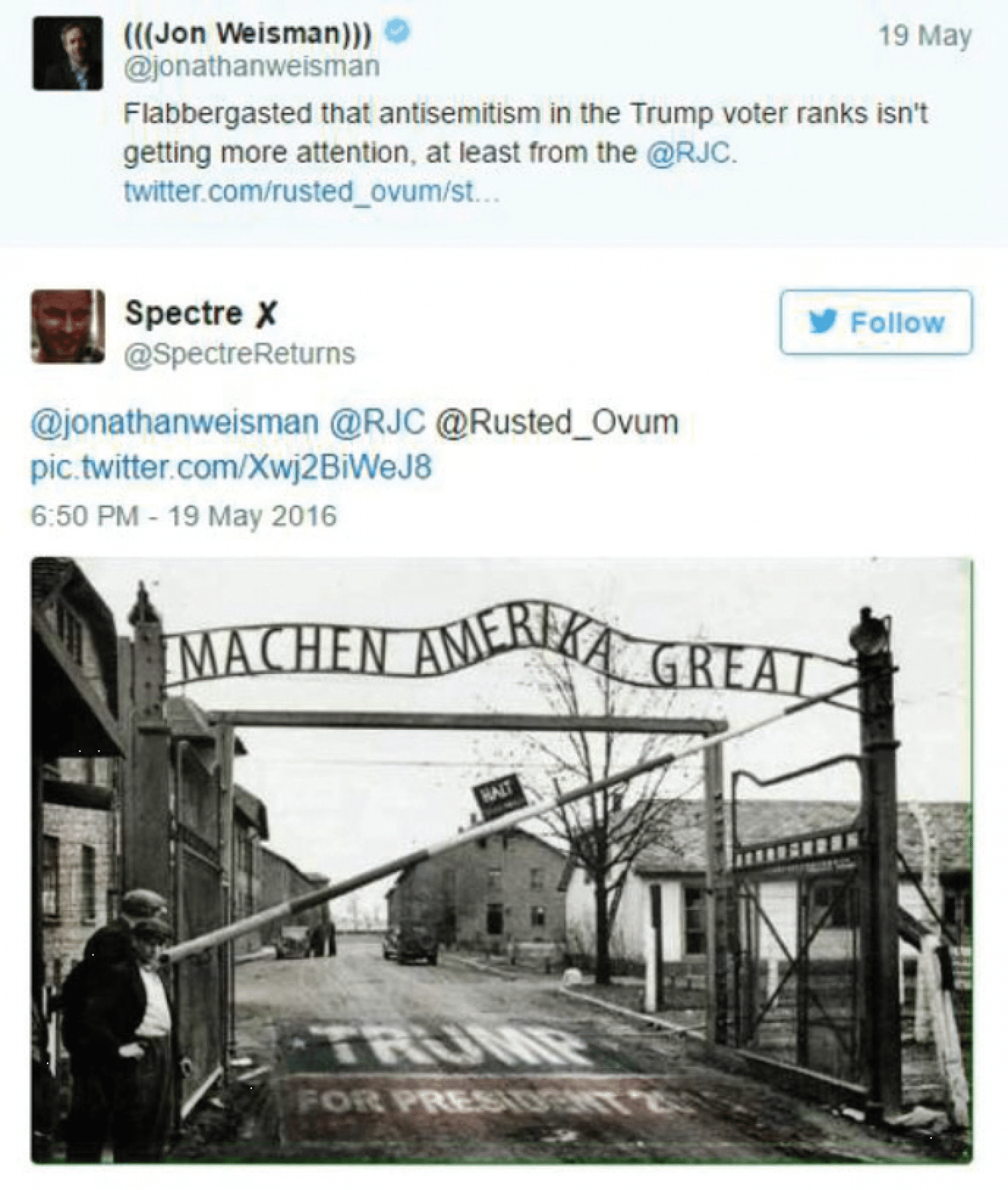"The ADL report included this anti-Semitic tweet sent to a journalist: The gates of the Auschwitz concentration camp, modified to say ""Machen Amerika Great,"" with a Trump insignia printed underneath. (Credit: Washington Post)"