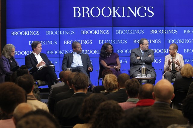 From left: Charlayne Hunter-Gault, Richard Reeves, James Peterson, Dayna Bowen Matthews, Michael Eric Dyson, Eleanor Holmes Norton. (Credit: Sharon Farmer and The Brookings Institution)