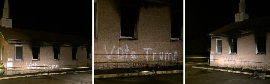 Vandals spray painted graffiti on and set fire to Hopewell Missionary Baptist Church in Greenville, Miss., which has a black congregation. (Credit: Angie Quezada, Delta [Miss.] Daily News)